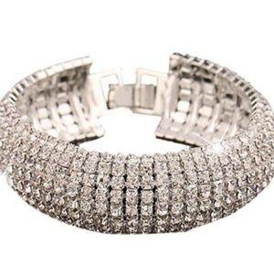Crystal Rhinestone Silver Tone Cuff BraceletNew